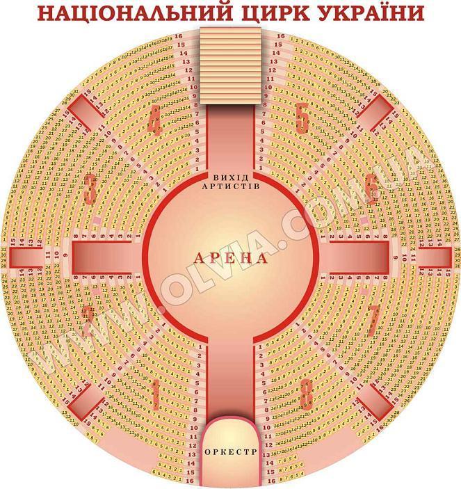 Схема зала. Киевский цирк